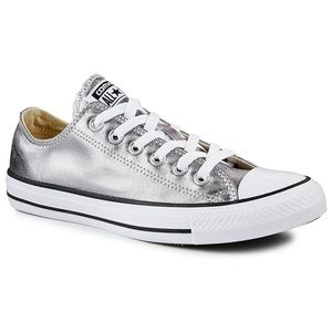 Silver Converse Low Tops Worn Once SZ 8